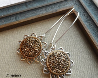 Vintage Button Earrings- Golden Lace