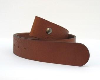 rusty brown premium leather single snap belt