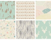 BUNDLE - Hello, Bear (Mint) - Bonnie Christine - Art Gallery Fabrics - Woodland Deer Head Antlers Woods Forest