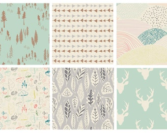 BUNDLE - Hello, Bear (Mint) - Art Gallery Fabrics - Bonnie Christine - Modern Quilting Cotton Fabric - Woodland Deer Head Woods Forest