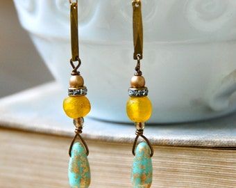 Long bohemian beaded teardrop earrings/boho jewelry. tiedupmemories