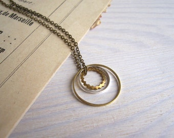 Layered Circles in mixed metals - In Orbit charm necklace - hoops in silver and brass - minimalist jewellery