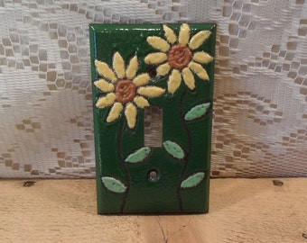 Switchplate Copper Enameled Single Lightswitch Cover Sunflowers enameled copper single toogle