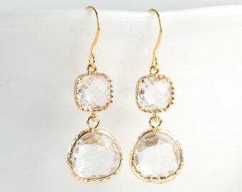 Clear Crystal Quartz and Gold Framed Dangle Drop Earrings, Clear Gold Dangle Earrings, Gold Drop Earrings