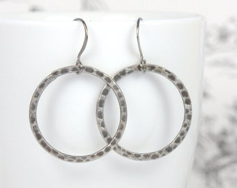 Gunmetal Circle Earrings, Gunmetal Earrings, Gunmetal Hoop Earrings, Black Hoop Earrings [#711]