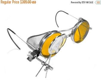 Steampunk Goggles Antique Rare SANIGLAS Steam Punk Glasses AMBER Tint Lenses Mesh Side Shields Aviator Sunglasses Burning Man - edmdesigns