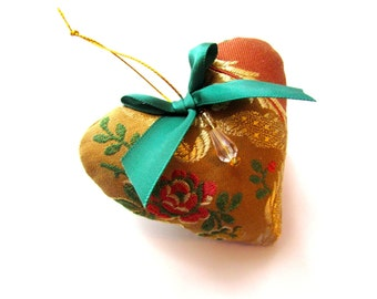 Little Silk Brocade Heart Ornament, Beads and Bow