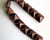 Bronze Pyramid 12mm - 2 hole Czech Beads - 1 strand, 12 beads