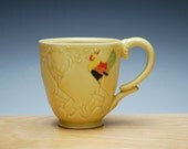 Rooster mug in Buttercup yellow w. colorized detail, Victorian folk stamped cup