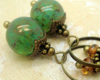 Green Dangle Earrings in the Neo Victorian Jewelry Style