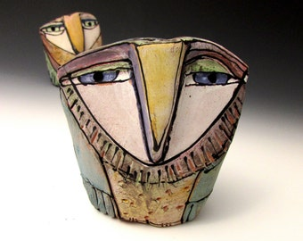 """Owl art, handmade ceramic owl, one of a kind owl art,""""Owl Person in the Sacred Forest"""", 3-7/8"""" tall"""