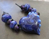 Twisted Heart Lampwork Bead Set