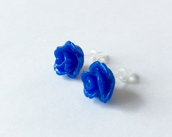 Kawaii Post Earrings Berry Blue Roses Stud Earrings Opaque Flowers No Metal Acrylic Posts Hypoallergenic Sensitive Ears Waterproof Jewelry