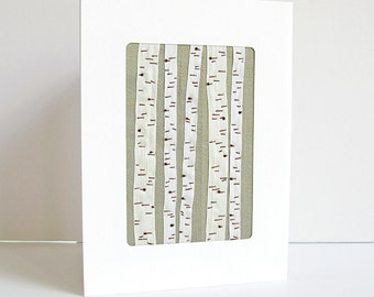 Birch trees card, woodland card, 5th anniversary card, embroidered card, botanical card, keepsake card, silk ribbon card
