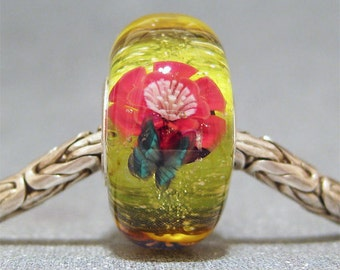 Orange, Yellow & Red Handmade SRA Lampwork Glass Butterfly Big Hole Bead Wildflower Garden