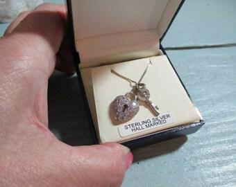 Vintage Valentine's Day Heart and Key Pendant Diamante studded Rhinestone White stone Necklace love Token SALE