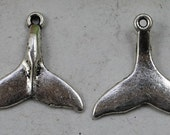 Antiqued silver mermaid whale fish tail charm  Pendant jewelry supplies  quantity 5   (DRW500)