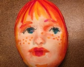 Handmade clay face  red hair edge round jewelry craft supplies  handmade cabochon   faces   polymer