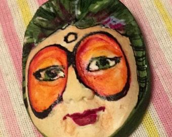 Handmade clay face moon spirit  jewelry craft supply handmade cabochon girl woman doll supply mosaic