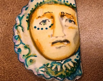 Handmade clay face  queen jewelry craft supplies  handmade cabochon   faces   polymer