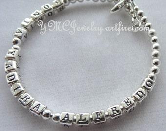 Solid Sterling Silver Mother Name Bracelet, Mother Bracelet, Mother's Day Present Bracelet, Grandmother, Name Bracelet, Three Name Bracelet