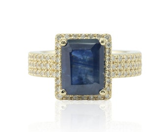 Sapphire Engagement Ring - Emerald cut Blue Sapphire Ring with Diamond Halo and Three Row Shank in 14k Yellow Gold - LS4708