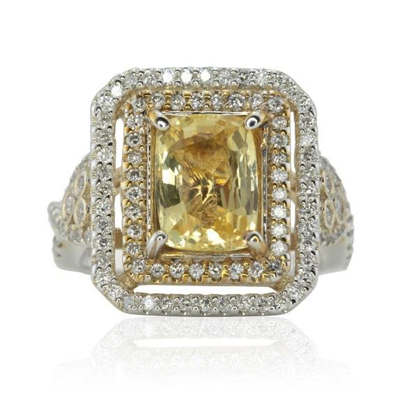 Yellow Sapphire Ring, Rectangular Cushion Cut Yellow Sapphire Right Hand Ring with Diamonds - LS1682