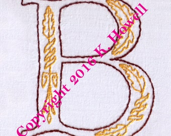 B Monogram Hand Embroidery Pattern, Medieval Letter, Monogram, Font, Illuminated Manuscript, PDF