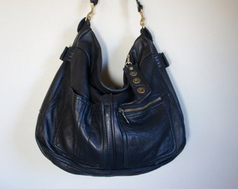 For JeannetteMuriel/// Vintage Black Leather Jacket with Clip On Purse Strap