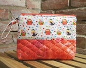 Owl Printed Cotton Make-up Bag / Toiletry Bag / Wet Bag / Project Bag with Snap Handle - FREE SHIPPING