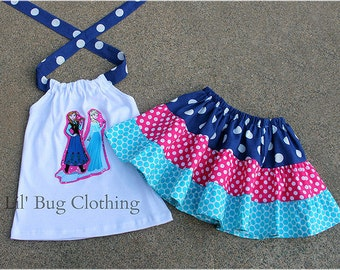 Custom Boutique Disney Frozen Anna Elsa Tiered Skirt And Halter Top  Outfit 12 18 24 2t 3t 4t 5t 6 7 8 9 10