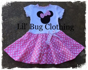 Custom Boutique Clothing Bubble Gum Pink and White Dot Minnie Mouse Tiered Tee Spring Dress