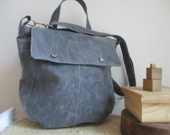 Gray waxed canvas Saddle Bag Small Messenger bucket bag great for minimalists modern trend pocketbook purse The Simple SoBo a shoulder bag