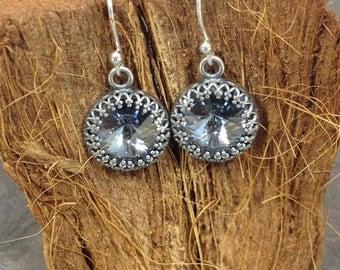 Crystal Blue Shade Bezeled Rivoli Drop Earrings