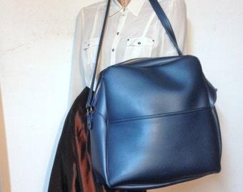 Carry on Bag Weekender Overnight Bag Vintage 60s Metallic Blue HUGE Mod Luggage