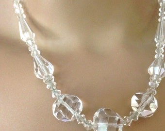 Art Deco Crystal Necklace Vintage Necklace Antique Crystal Necklace 14 KGF Clasp