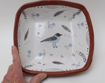 chirp salad bowl, handpainted/sgraffito one of a kind by crowfootstudio