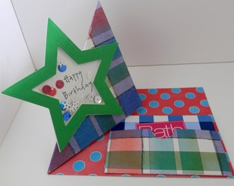 Greeting Card Happy Birthday Pop Up Star Shaker Element Fun Fold With Gift Card Holder
