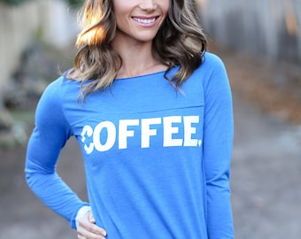Coffee. Off the Shoulder Long Sleeved Long Heathered Tee, Sport Striped Wrists- 6 tee colors to choose from.  Made in the USA.