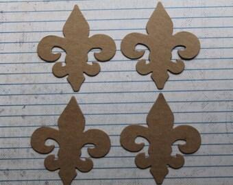 4 Fleur de Lis chipboard Die Cuts 2 1/4 inches wide x 2 1/2 inches tall