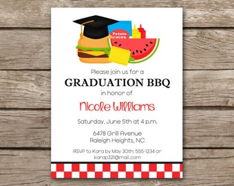 Graduation BBQ Invitation, bbq Invitation, Graduation Cookout Invitation, Grad Party Invitation, Graduation Party Invitation, PRINTABLE