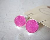 Druzy Lever Back Drop Earrings of Magenta Pink in Silver