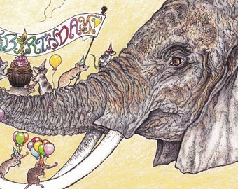 Happy Birthday Elephant Card from an Original Pen and Colored Pencil Drawing