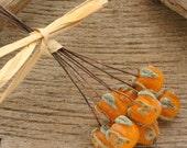 CRUSTY PUMPKIN HEADPINS - Handmade Lampwork Head Pins - 2 Headpins