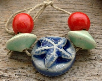 STARFISH CERAMIC SET - Handmade Ceramic Beads and Tab - 5 Ceramic Beads - #2