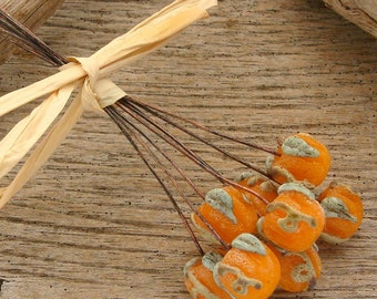 CRUSTY PUMPKIN HEADPINS - Handmade Lampwork Head Pins - 2 Headpins
