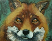 Fox painting 35 12x12 inch original animal portrait oil painting by Roz