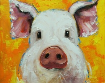 Pig painting 229 12x12 inch original oil painting by Roz
