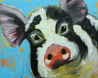 Pig painting 236 12x12 inch original oil painting by Roz