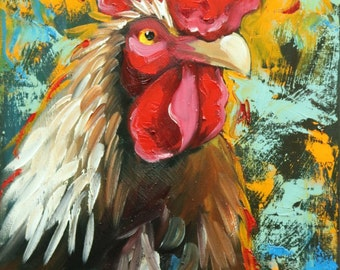 Rooster 836 12x16 inch animal portrait original oil painting by Roz